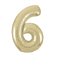 """34"""" Gold Number 6 Foil Balloon New"""
