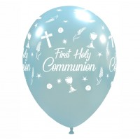 "Chalice 12"" 'First Holy Communion' Blue Latex 50ct"