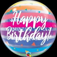 "Happy Birthday Triangles and Stripes - Single 22"" Bubble"