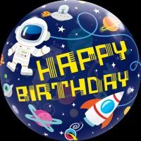 "Happy Birthday Space Themed - 22"" SIngle Bubble"