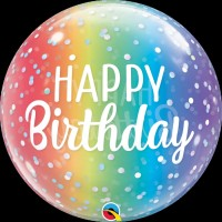 "Happy Birthday Colourful Fading - Single 22"" Bubble"