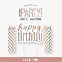 Rose Gold Glitz Glitter Happy Birthday Candle Set