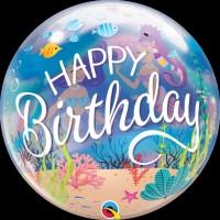 """Happy Birthday Mermaid Themed - 22"""" Single Bubble"""