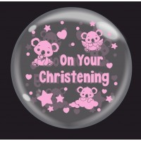 """Baby Koala Pink 'On Your Christening' - Bubble -  24"""" (unpackaged)"""