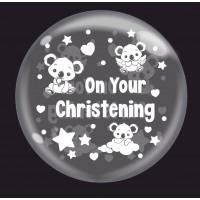 "Baby Koala White 'On Your Christening' - Bubble -  24"" (unpackaged)"