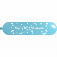 "Chalice Sky Blue ""My First Holy Communion"" Decorated Totem Balloon 87"" x 19.5"""