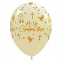 "Crozier 12"" 'On My Confirmation' Gold and Ivory Latex 50ct"