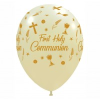 "Chalice 12""  'First Holy Communion' Gold and Ivory Latex 50ct"