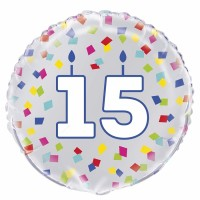"Age 15 - Silver and Multi-Coloured Confetti 18"" Foil Balloon"