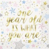Twinkle Twinkle Little Star One Year Old Is What You Are Luncheon Napkins 16ct