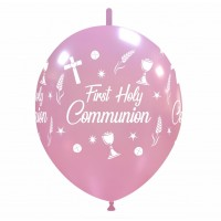 "Chalice 12"" Linking Pink 'First Holy Communion' 50ct Latex"
