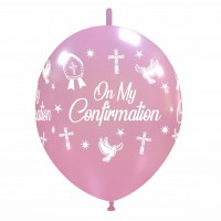 "Crozier 12"" Pink 'On My Confirmation' Linking 50ct Latex"