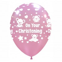 "Baby Koala 12"" 'On Your Christening' Pink 50ct Latex"