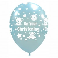 "Baby Koala 12"" 'On Your Christening' Sky Blue 50ct Latex"