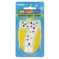 Polka Dot Numeral 7 Birthday Candle