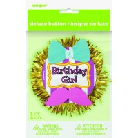 Deluxe Button Badge Birthday Girl 3D