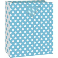 Powder Blue Dots Gift Bag Large