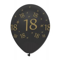 "Black/Gold 18th Birthday 12"" Latex 50ct"