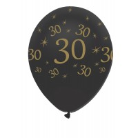 "Black/Gold 30th Birthday 12"" Latex 50ct"