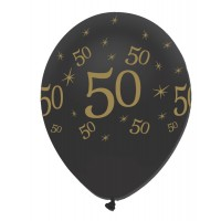 "Black/Gold 50th Birthday 12"" Latex 50ct"