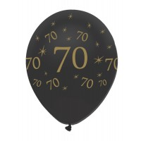 "Black/Gold 70th Birthday 12"" Latex 50ct"