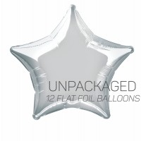 "Silver - Star Shape - 20"" foil balloon (Pack of 12, Flat)"