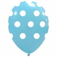 "Baby Blue Polka Dot 12"" Latex 25ct"