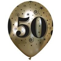 50th Anniversary Chromium Pro Gold Latex Balloons 25Ct