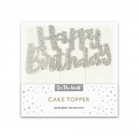 Silver Glitter Happy Birthday Cake Topper 1ct