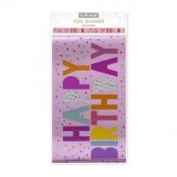 Pink Happy Birthday Foil Banner
