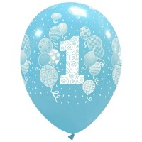 "Balloons and Confetti Age 1 Blue 12"" Latex 25ct"