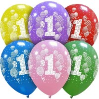 """Balloons and Confetti Age 1 Multi Colour 12"""" Latex 25ct"""