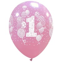 "Balloons and Confetti Age 1 Pink 12"" Latex 25ct"