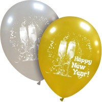 "Superior 12"" Happy New Year Gold and Silver latex 25ct"