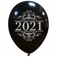 "Superior 12"" Black New Year 2021 Latex 25ct"