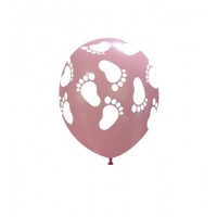 "Superior 5"" Pink Footprints Latex 100ct"