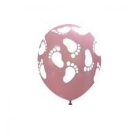 "Superior 5"" Pink Footprints Latex 100ct"