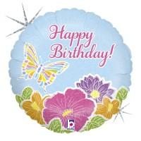 "Pastel Butterfly Happy Birthday 18"" Foil Balloon"