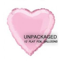 "Pastel Pink - Heart Shape - 18"" foil balloon (Pack of 12, Flat)"