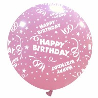 "32"" Pink Happy Birthday Latex Balloon 1Ct"