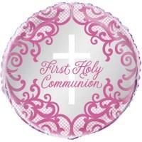 "Communion Pink Cross 18"" Foil Balloon"