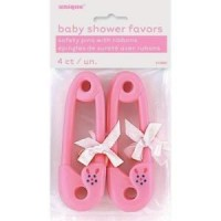 12PK PINK RIBBON BABY PINS