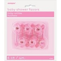 """2½"""" PINK BABY RATTLES"""