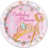 "Pink Princess 7"" plates 8ct"