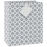 Silver Quatrefoil - Medium Gift Bag -  (2 Gift Bags, €0.49each)