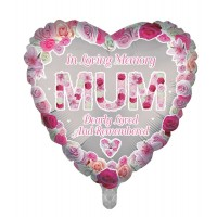 "In Loving Memory Mum Dearly Loved and Remembered Heart Shaped 18"" Foil Balloon"