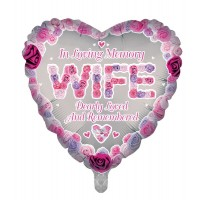 "In Loving Memory Wife Dearly Loved and Remembered 18"" Foil Balloon"