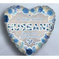 "In Loving Memory Husband Dearly Loved and Remembered Heart Shaped 18"" Foil Balloon"