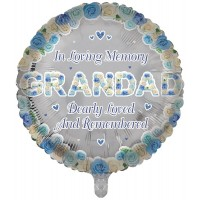 "In Loving Memory Grandad Dearly Loved and Remembered 18"" Foil Balloon"