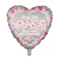 "For A Little Angel Dearly Loved and Remembered Heart Shaped 18"" Foil Balloon"